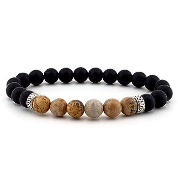Mens Bracelet Natural Stone Black Matte ONYX & Sand JASPER Gemstone B-552