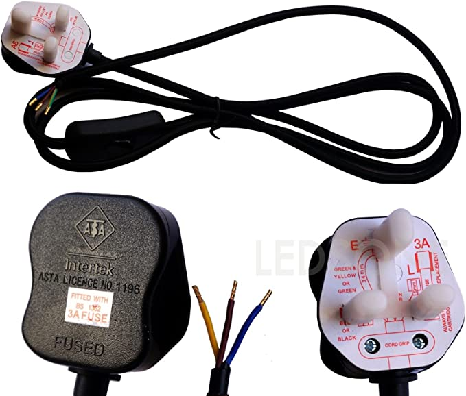 Ledsone UK 3/pin Plug con interruttore 3/Core cavo intrecciato tessuto vintage set UK Lighting marrone