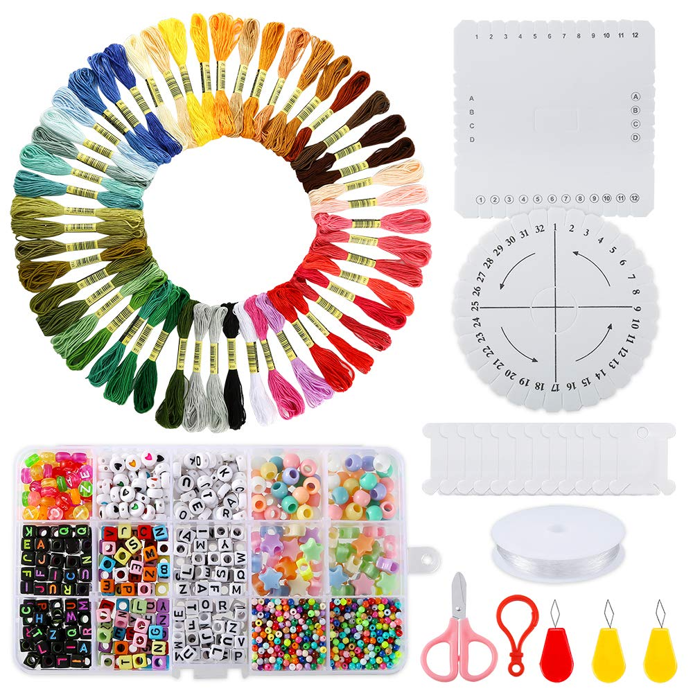 PP OPOUNT Bracelet Making Beads Kit with 50 Embroidery Floss, 1930 Pieces Alphabet Letter Beads and Braiding Disc for Friendship Bracelets, Jewelry Making by PP OPOUNT