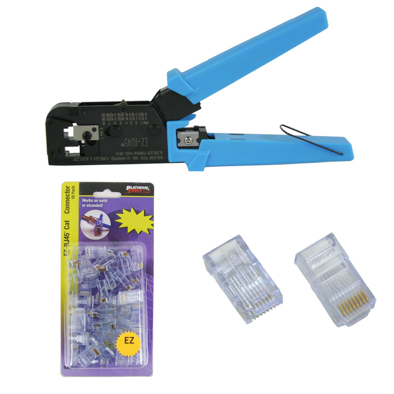 Platinum Tools 100004C EZ-RJ45 Crimper Tool wtih EZ-RJ45 Cat5/5e 50 Connectors