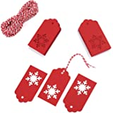 Whale Whale 100 Pack Paper Tags Kraft Gift Tags Snowflake Shape Hang Labels With 30 Meters Natural Jute Twine For DIY Arts And Crafts, Wedding Christmas Thanksgiving And Holiday, (Red)