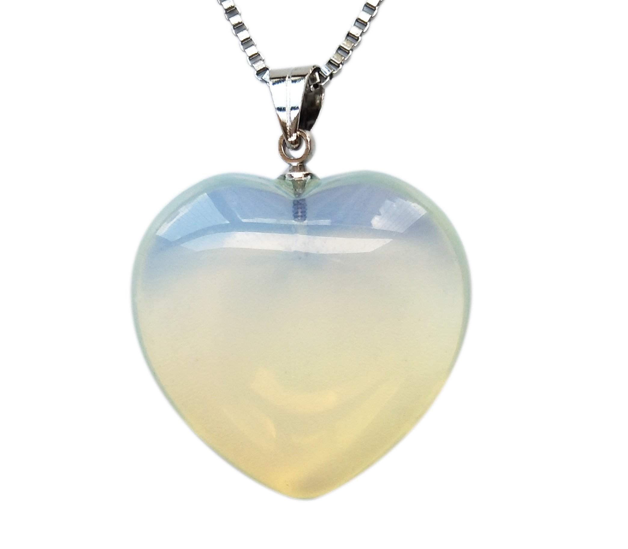 Puffy heart pendant necklace made of top quality opalite