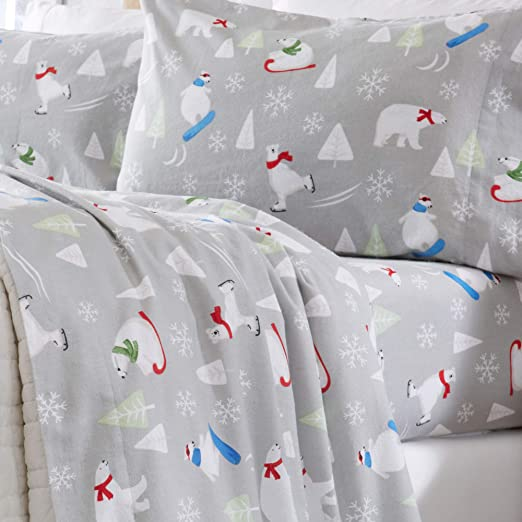 Amazon Com Home Fashion Designs Flannel Sheets Queen Winter Bed Sheets Flannel Sheet Set Polar Bears Flannel Sheets 100 Turkish Cotton Flannel Sheet Set Stratton Collection Queen Polar Bears Home Kitchen