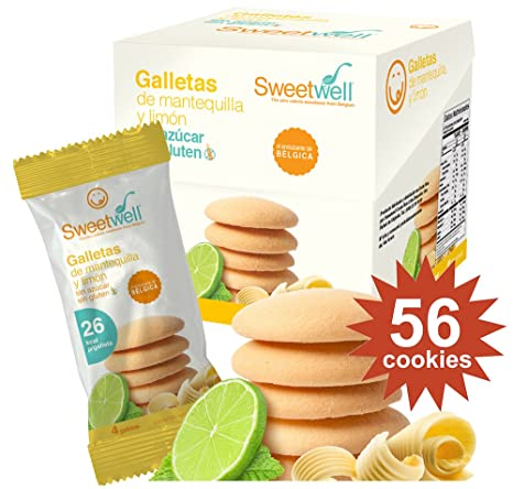 Sweetwell Sugar Free Cookies, Butter And Lemon - 56 Units (14 Packs of 4 Units)