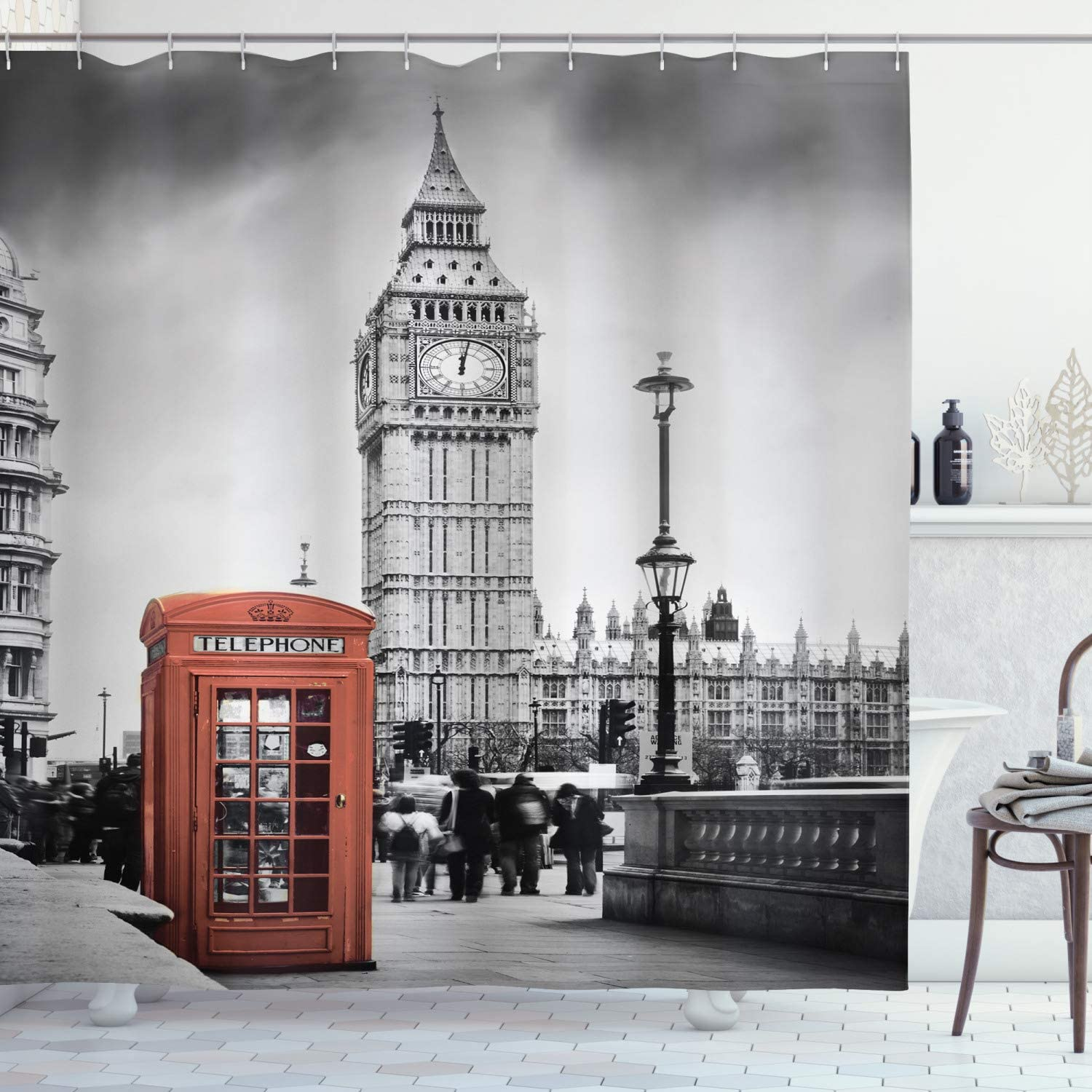 """Ambesonne London Shower Curtain, Famous Telephone Booth and The Big Ben in England Street View of Town Retro, Cloth Fabric Bathroom Decor Set with Hooks, 70"""" Long, Red Grey"""