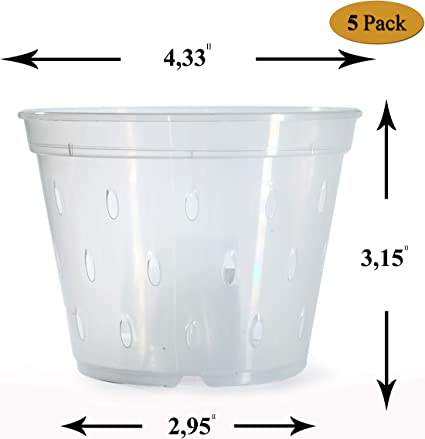 CLEAR PLASTIC ORCHID POTS     ORCHID PLANT POTS 24 x 15cm  OR  6 INCH