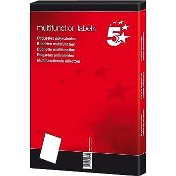 5 Star 903849 - Pack de 100 hojas de etiquetas autoadhesivas, 105 x 37, color blanco: Amazon.es: Oficina y papelería