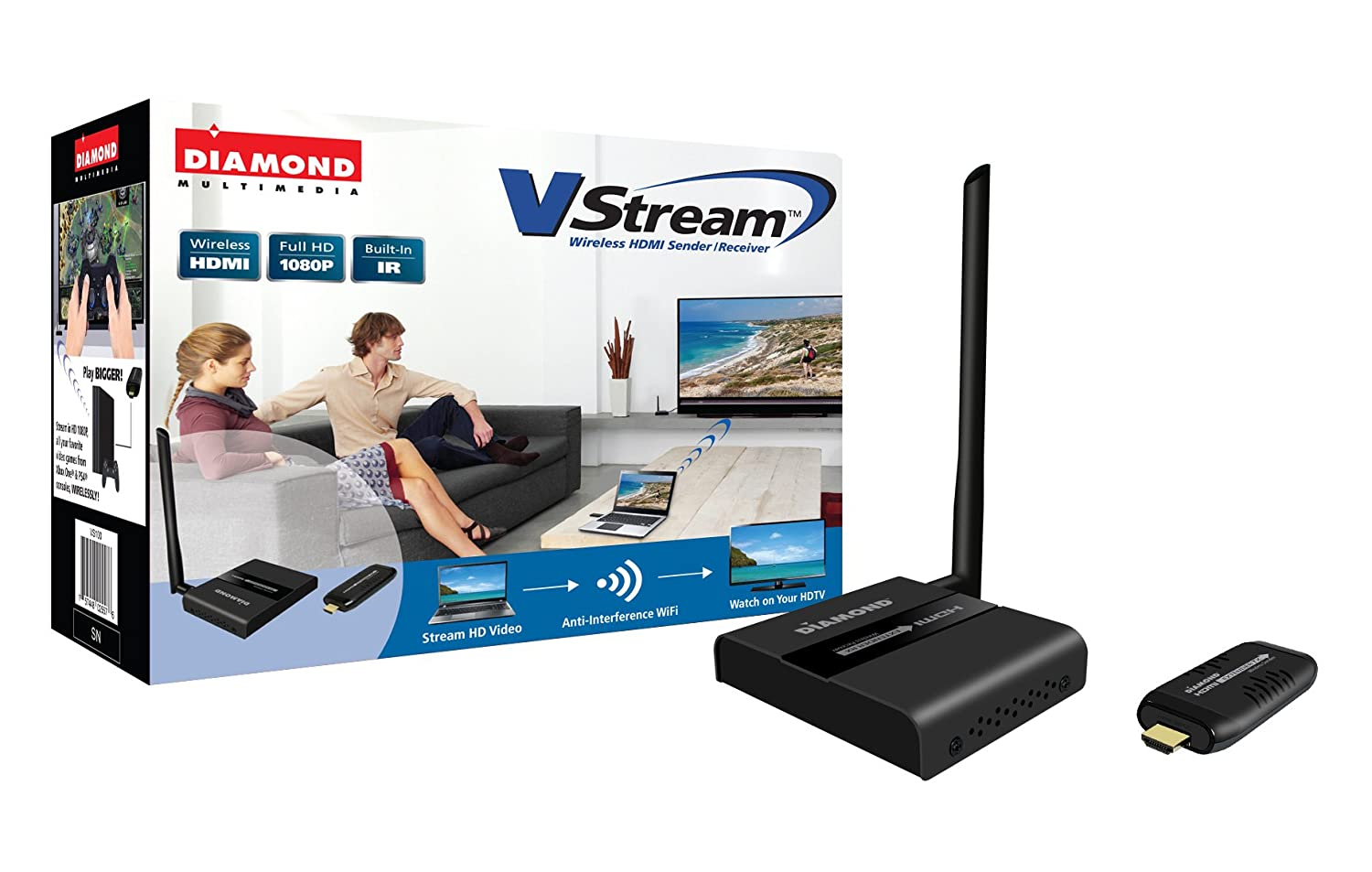 Diamond Wireless HDMI Extender Kit, TV Transmitter & Receiver HD 1080p, Stream Video Content from: Laptops, PC, Cable Box, Satellite Box, Blu-Ray, DVD, PS3, PS4, Xbox 360, Xbox One (VS100)