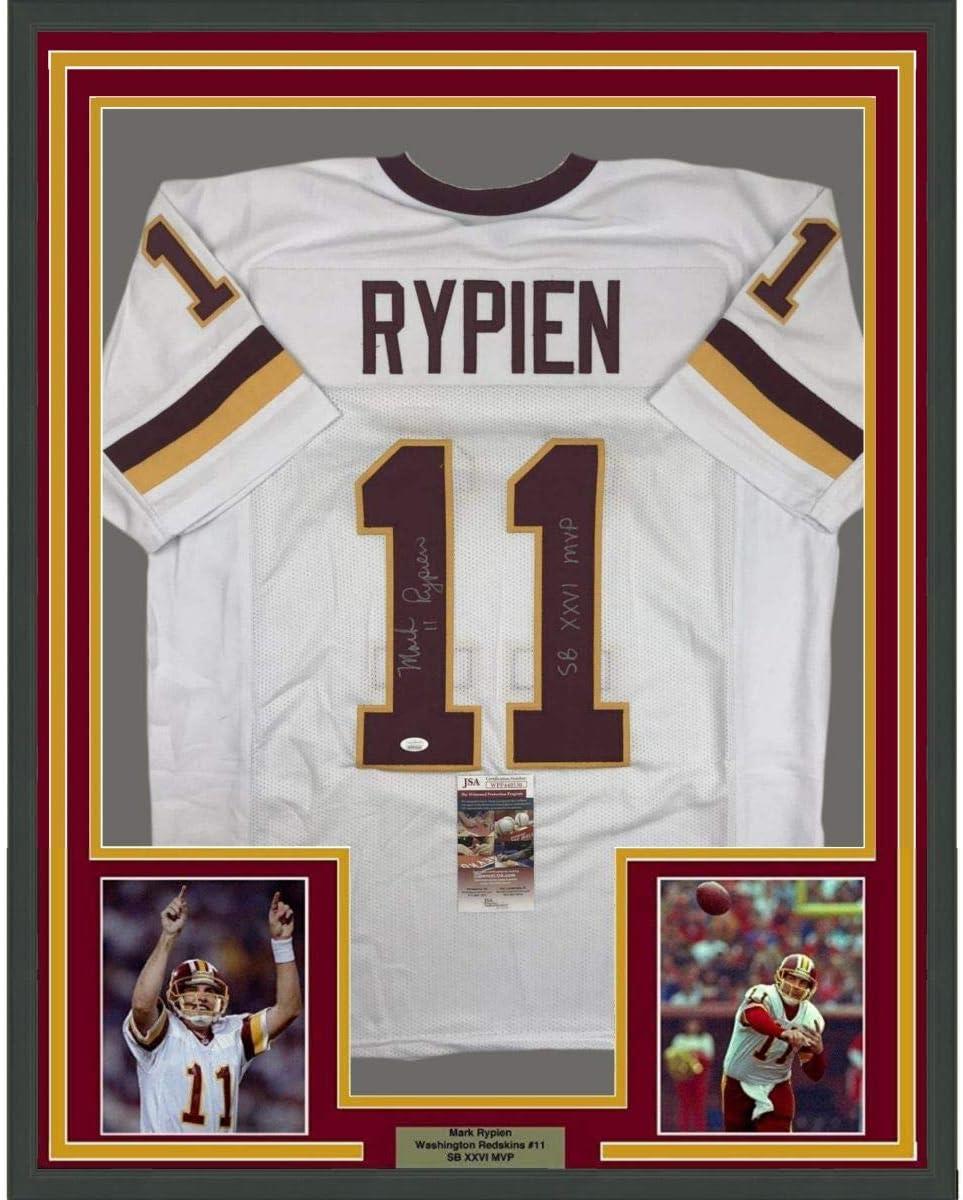 Framed Autographed/Signed Mark Rypien SB XXVI MVP 33x42 Washington White Football Jersey JSA COA