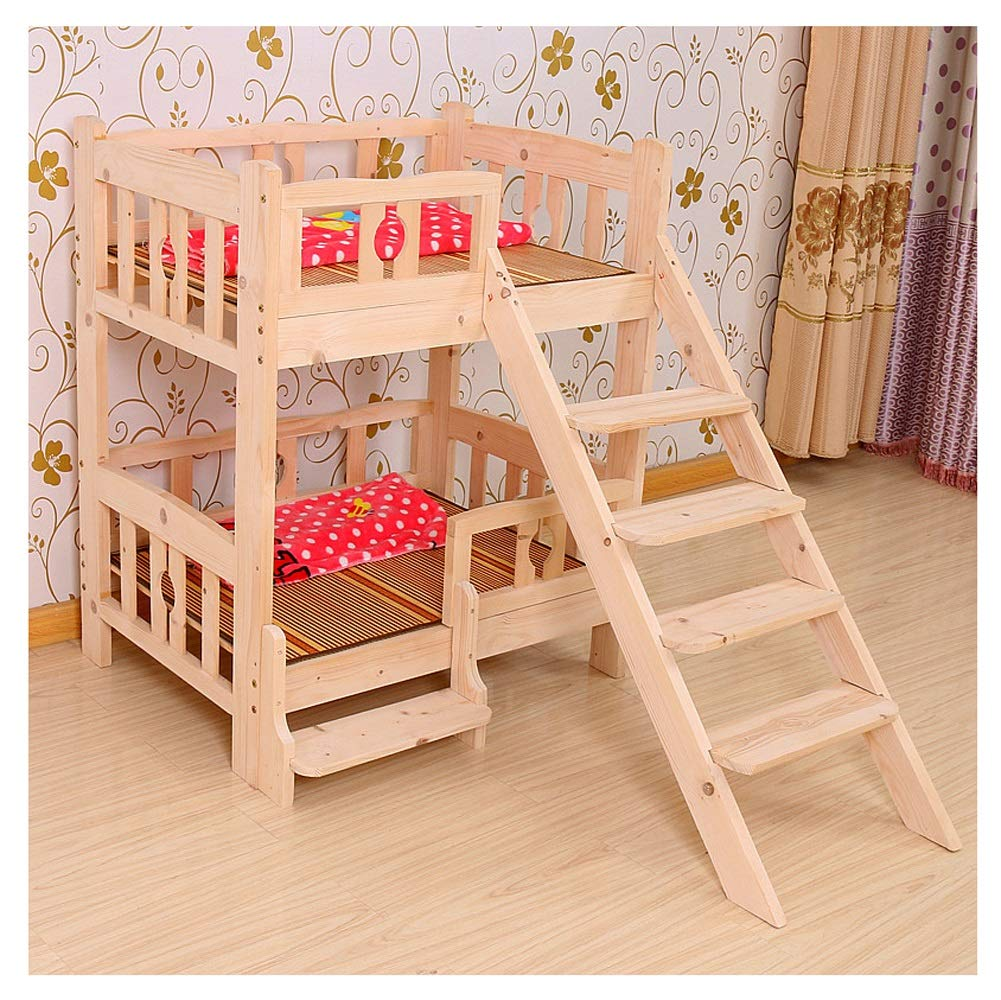 D 53X38X98CM D 53X38X98CM 2-Tier Wood Kennel with Stairs Steps Indoor Wooden Dog Cat House Pet Cat Bed Solid Wood All Seasons (color   D, Size   53X38X98CM)