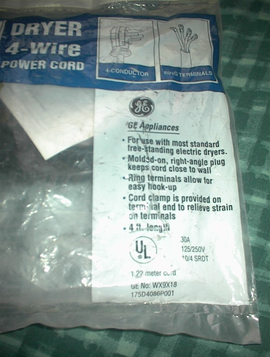 Ge No Wx9x18 4 Wire Dryer Cord Foot General Electric Wiring Up A Plug