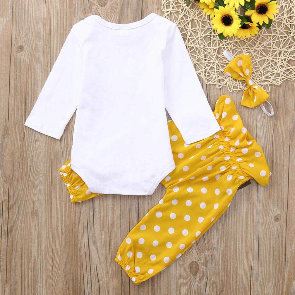 Jarsh Baby Girls You are My Sunshine Letter Print Long Sleeve Romper+Dot Pants+Headband Outfits Sets