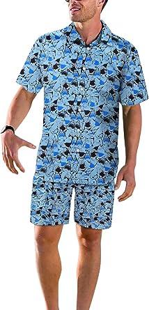 Bmeigo Hombre Casual Camisa Hawaiana Pantalones Cortos Trajes Estampado en 3D Aloha Floral Playa Camisa Manga Corta de Vacaciones Fiesta Surf: Amazon.es: Ropa y accesorios