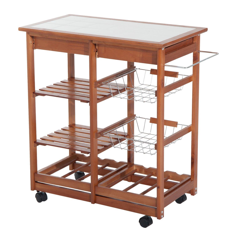 HOMCOM 30'' Wooden Rolling Kitchen Organizer Cart Tile Countertop With Basket Storage Wine Rack by HOMCOM (Image #5)