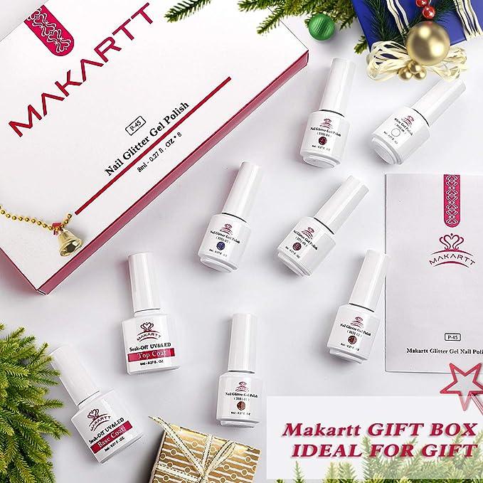 Amazon Com Makartt 2020 Glitter Gel Nail Polish Set 5 Colors