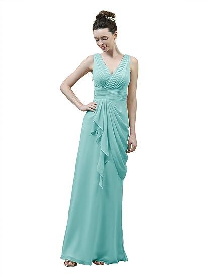 Alicepub V-Neck Chiffon Bridesmaid Dress Prom Gown Long Bridal Party  Evening Dress bc07c5fa8