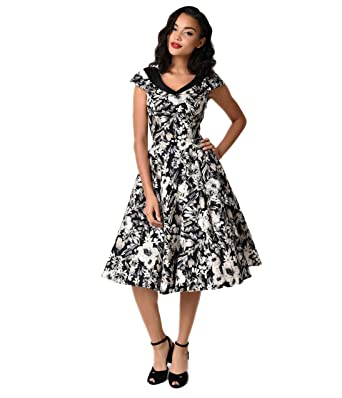 8d22764614a6 Vintage Style Black & Grey Florals Cap Sleeve Imogen Swing Dress at Amazon  Women's Clothing store: