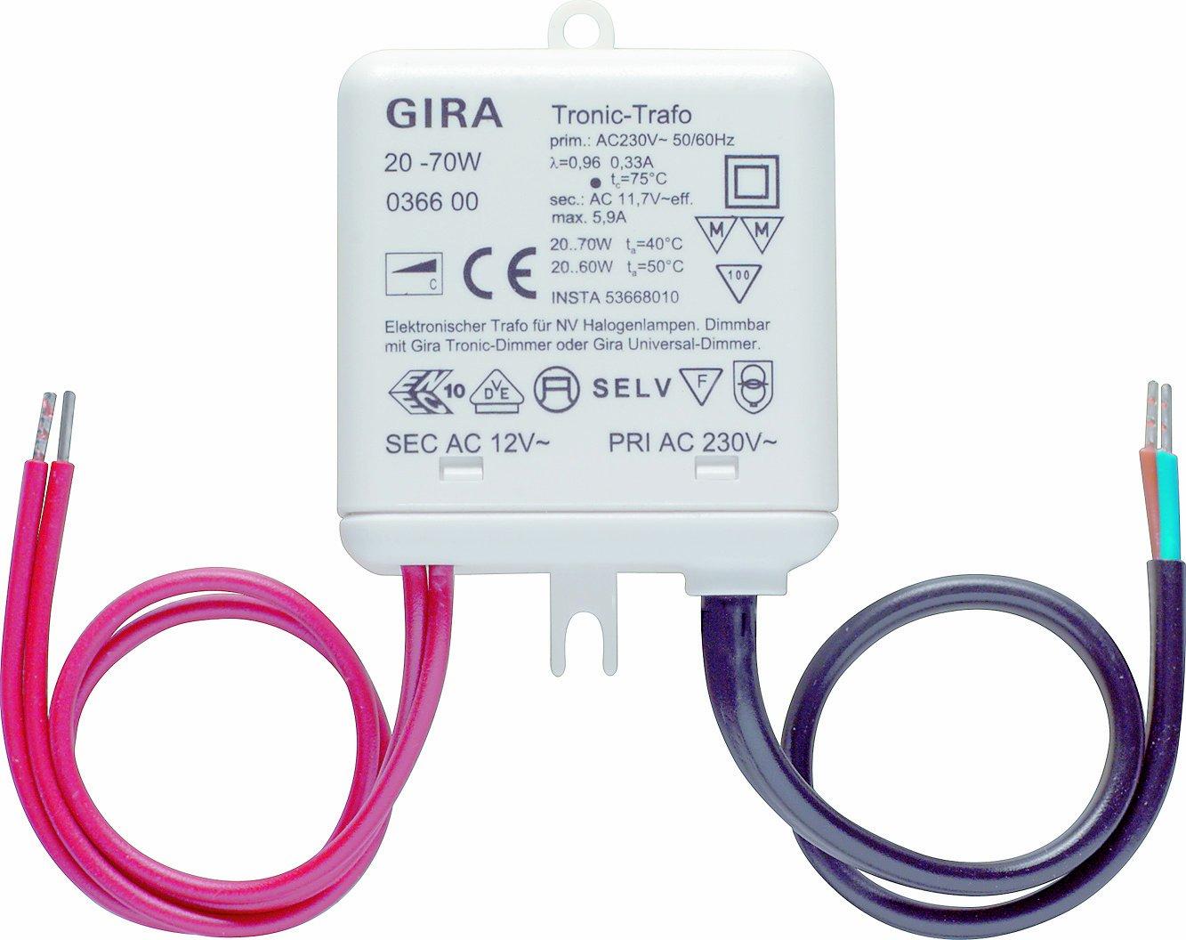 Gira 036600 Tronic Trafo 20 70 W Elektronik, weiß