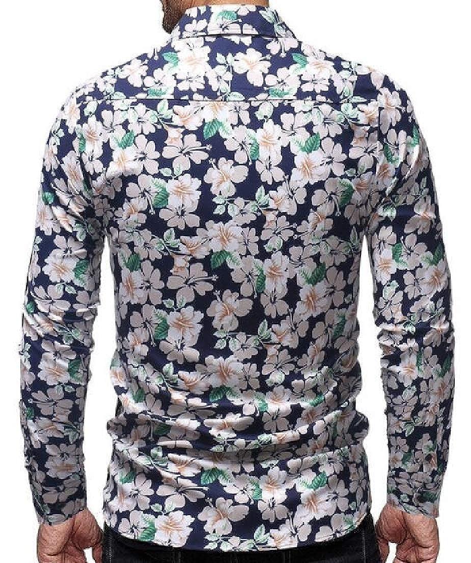 UUYUK Men Fashion Floral Print Regular Fit Long Sleeve Button Front Shirts