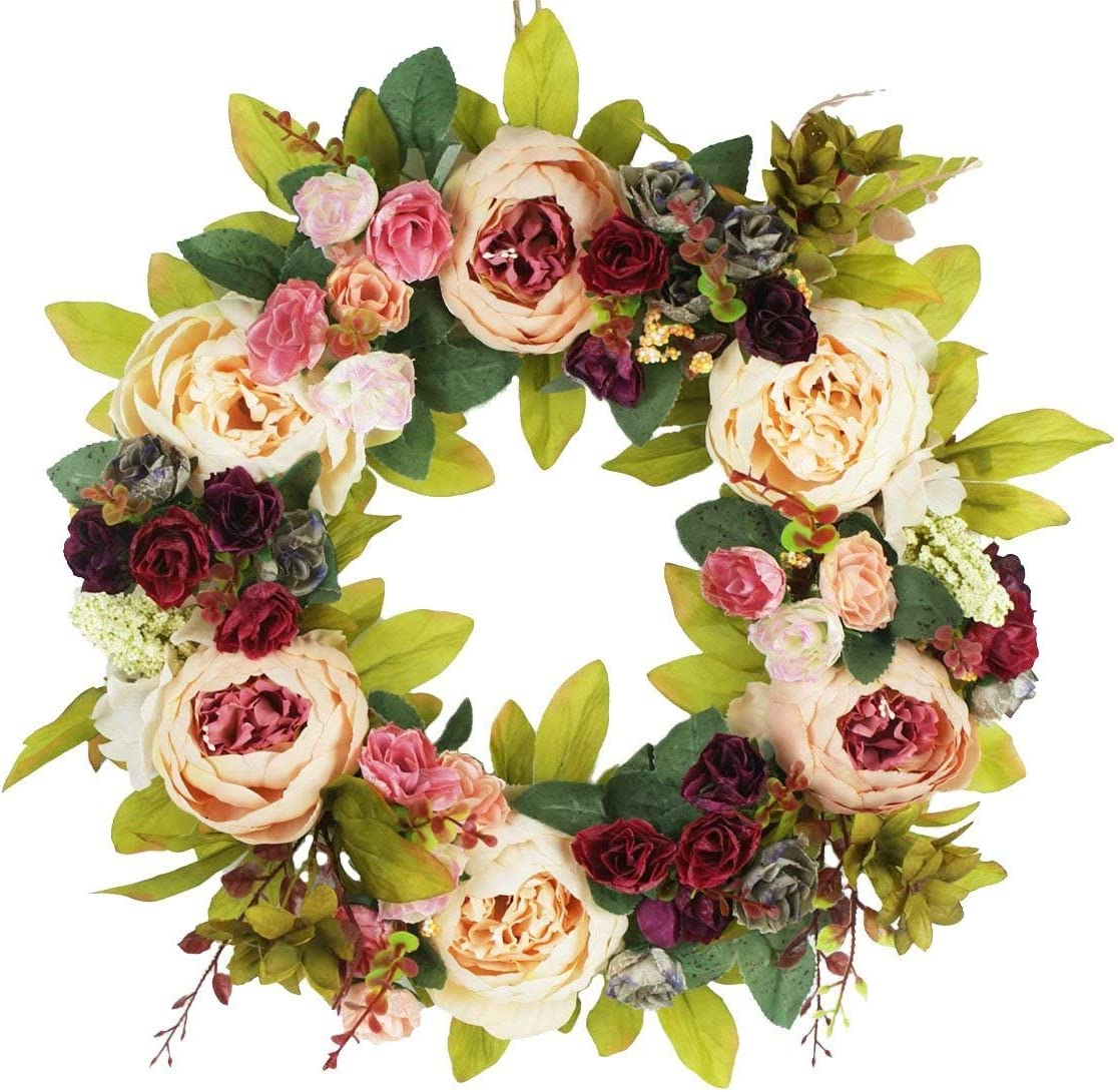 Delicaft Large Peonies Hydrangea Wreath Door Wreath - Handcrafted Wreath for Home Wall Decor (Champagne)
