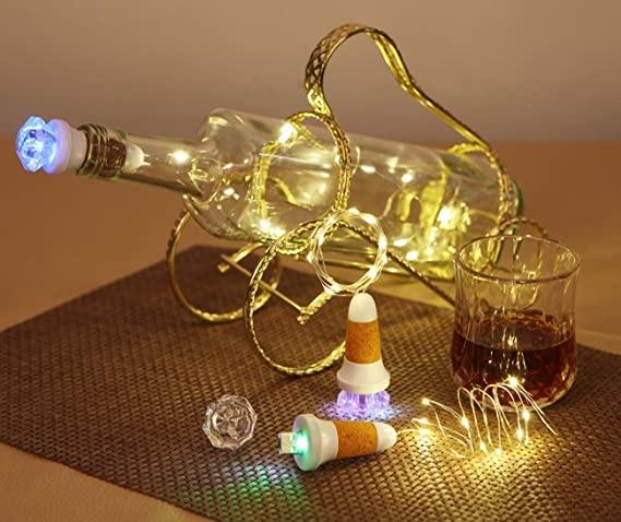 10 LED de Leuchten Bottle Light - Corcho - Guirnalda decorativa, USB recargable Botella Luz diamantes, 7 de colores de flash de LED luz de cobre cadena (3,5 ...
