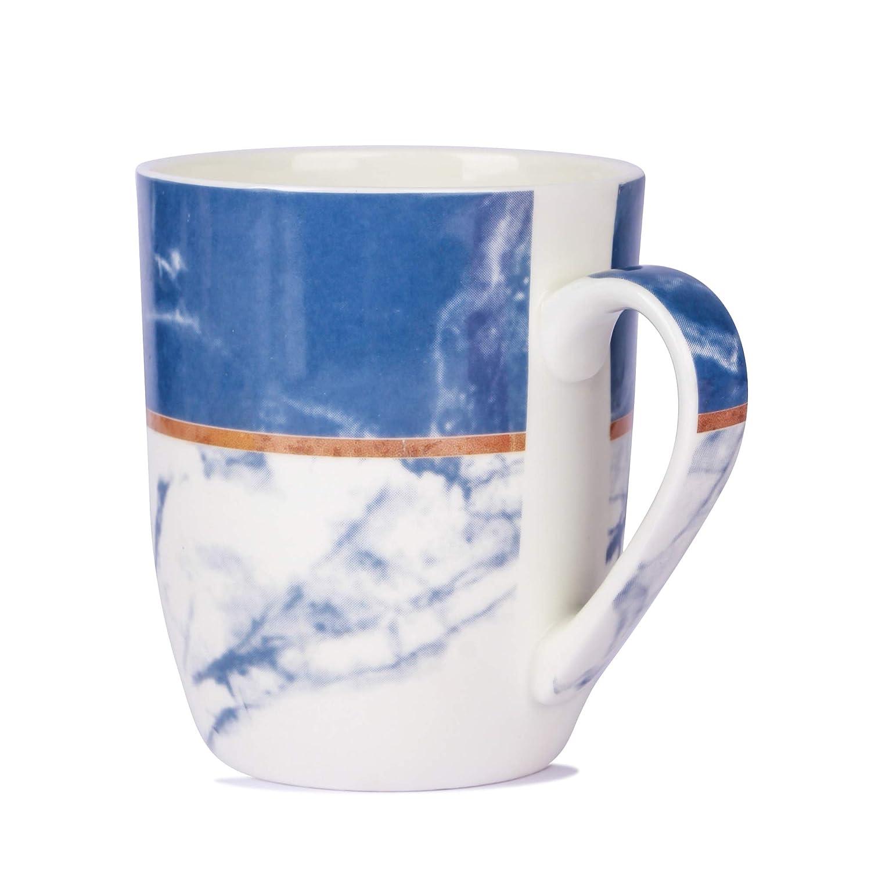Bone China Tea Cup N Coffee Mug, White Self Printed, 250 ML