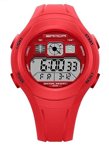 SANDA - Reloj para Niños Niñas Deportivos LED Digital a Prueba de Agua Reloje Impermeable Infantil Sport Watch - Rojo: Amazon.es: Relojes