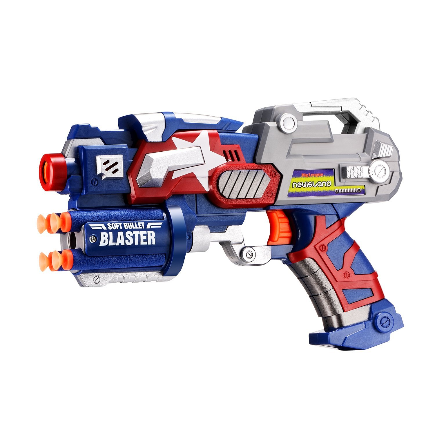 Soft bullet blaster gun in combination of gray, blue and white colors