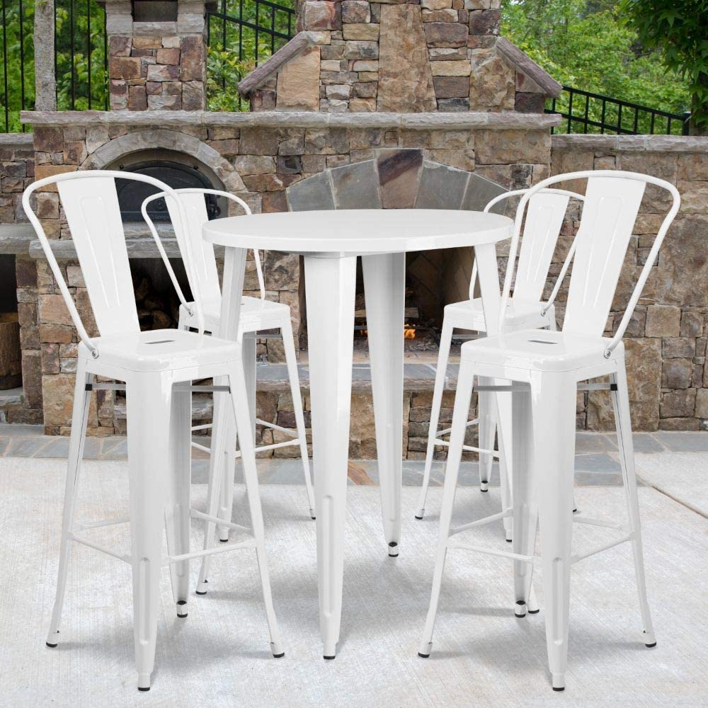 """Flash Furniture Commercial Grade 30"""" Round White Metal Indoor-Outdoor Bar Table Set with 4 Cafe Stools"""