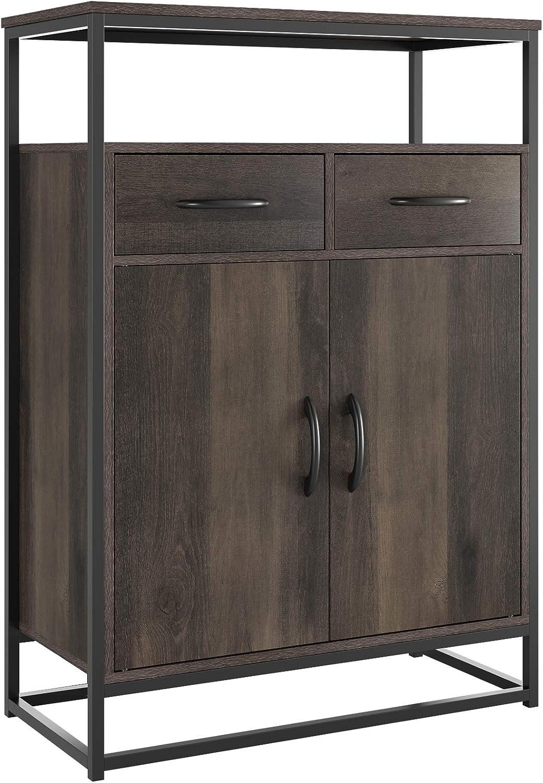 HOMECHO Side Storage Cabinet, Industrial Floor Standing Cabinet with 2 Fabric Bins, Cupboard Sideboard with Shelves and Doors, Home Office, Dark Brown