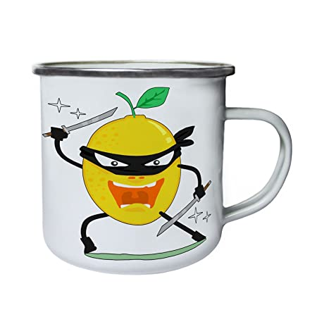 Dibujos animados de ninjas de limón Retro, lata, taza del ...