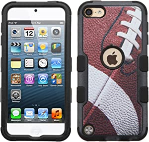 MYTURTLE iPod Touch 7th 6th 5th Generation Case Shockproof Hybrid Hard Silicone Shell Impact Cover with Screen Protector for iPod Touch 7 (2019), iPod Touch 5/6 (2015), Ball Sports Football Tuff