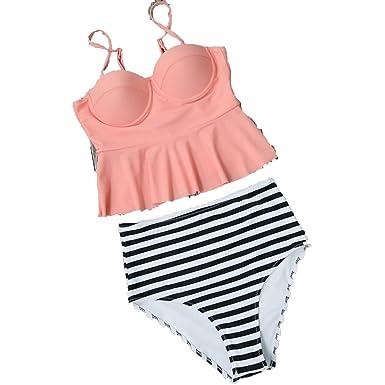 f6d32ce9fa Amazon.com: Romance-and-Beauty 2018 Sexy Bikini Swimwear Women Swimsuit  High Waisted Suit Ruffle Two Piece Swimwear Beachwear,Light Pink,XL:  Clothing