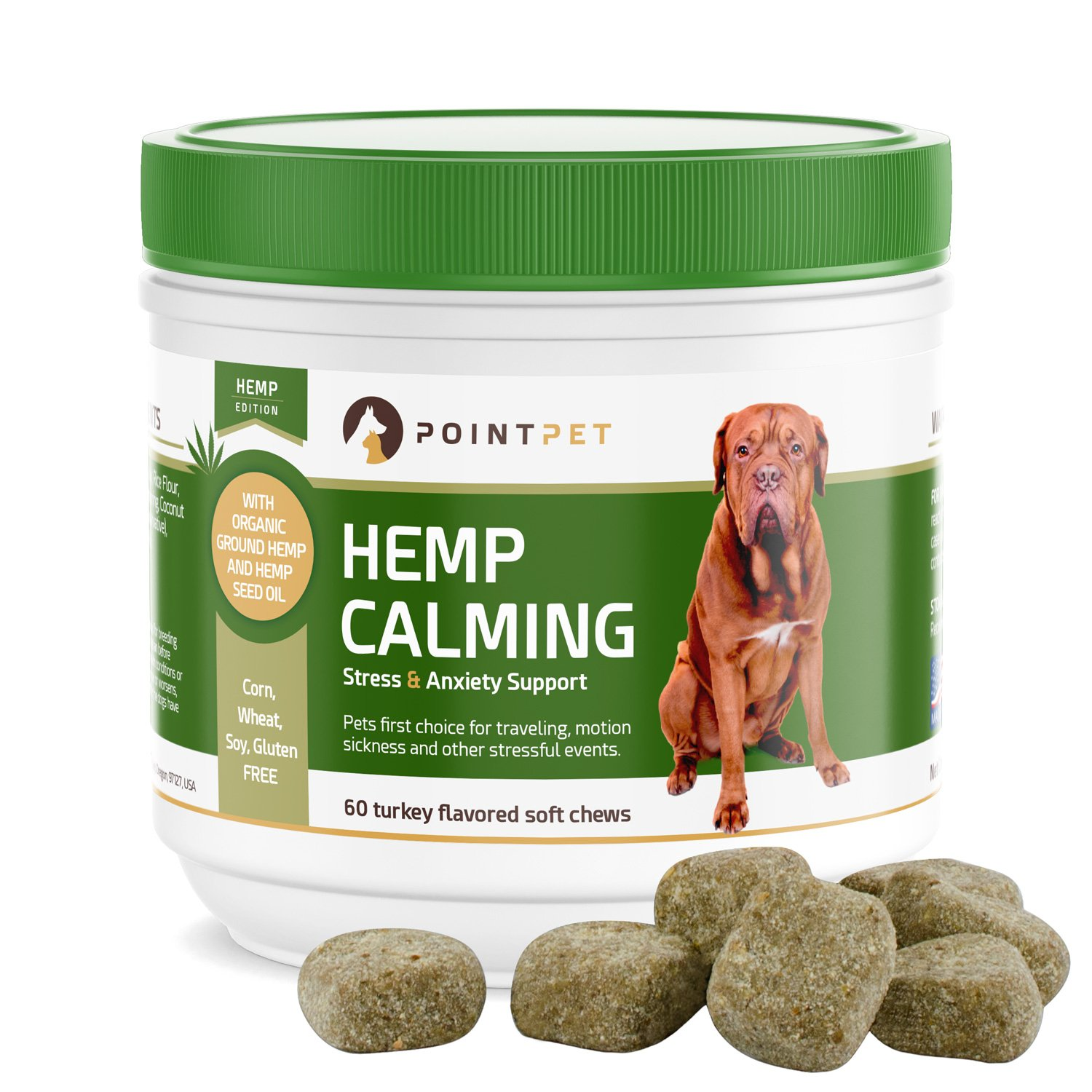 POINTPET Stress and Anxiety Relief for Dogs, Natural Calming Treats with Organic Hemp Oil, Helps with Separation, Travel and Motion Sickness, Fireworks, Dog Anxiety Supplement, 60 Soft Chews