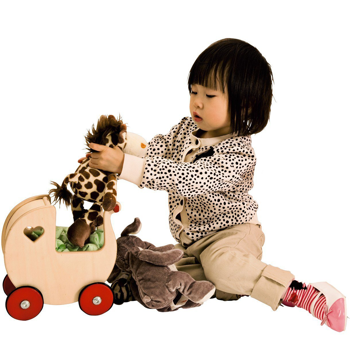 Moover Miniature Doll Pram, Natural Wood – Fits Very Small Dolls up to 7'' Tall