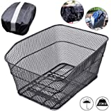 ANZOME Rear Bike Basket – Metal Wire Bicycle Cargo Rack Mount for Back Under Seat with Heavy Duty Reflective Black…
