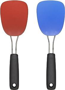 OXO 2-Piece Good Grips Nylon Flexible Turner Set, Red/Blue