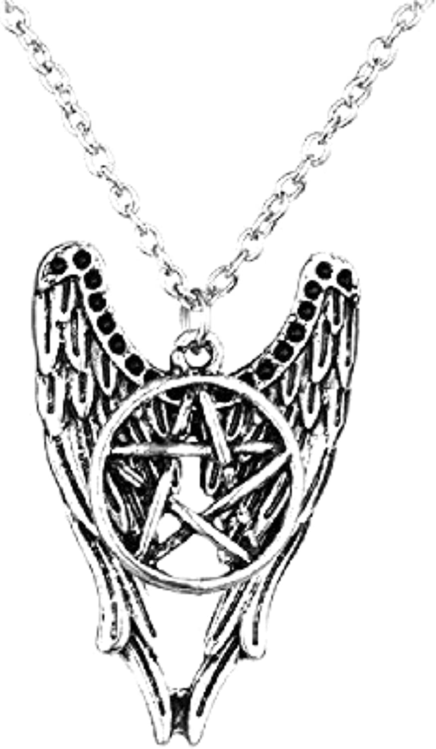 "24/"" long tibetan two silver angel wings necklace"