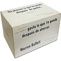 """WARREN BUFFET, Alcancía decorada frase celebre """"No gastes lo que te queda después de gastar, gasta lo que te queda después de ahorrar."""", Box Money, alcancía tipo rústica. México."""
