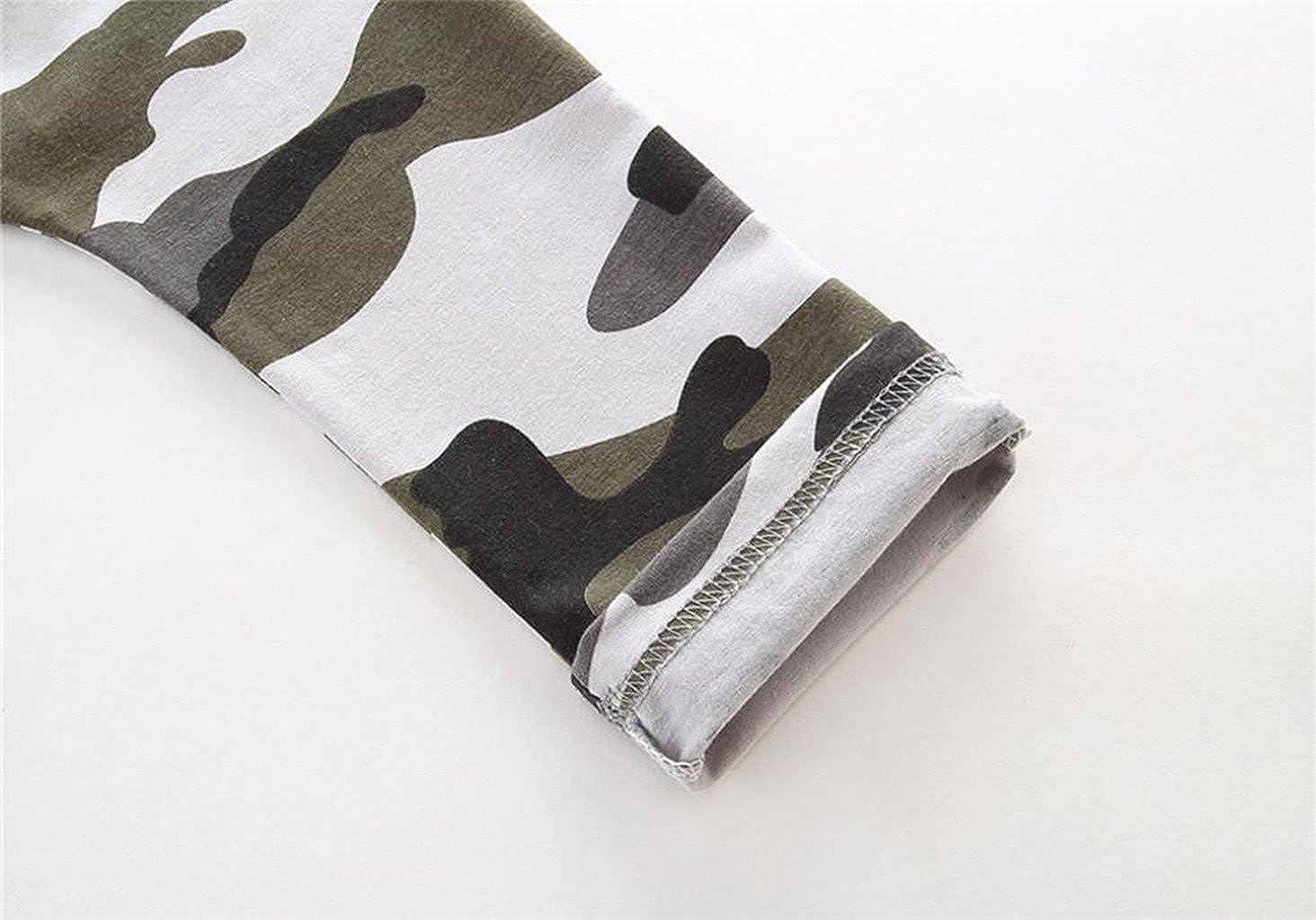 Bonjouree Ensembles Pantalons et Haut Gar/çon Tops Pull Imprim/é Lettre et Pantalon Camouflage pour Enfants Gar/çon 1-6 Ans