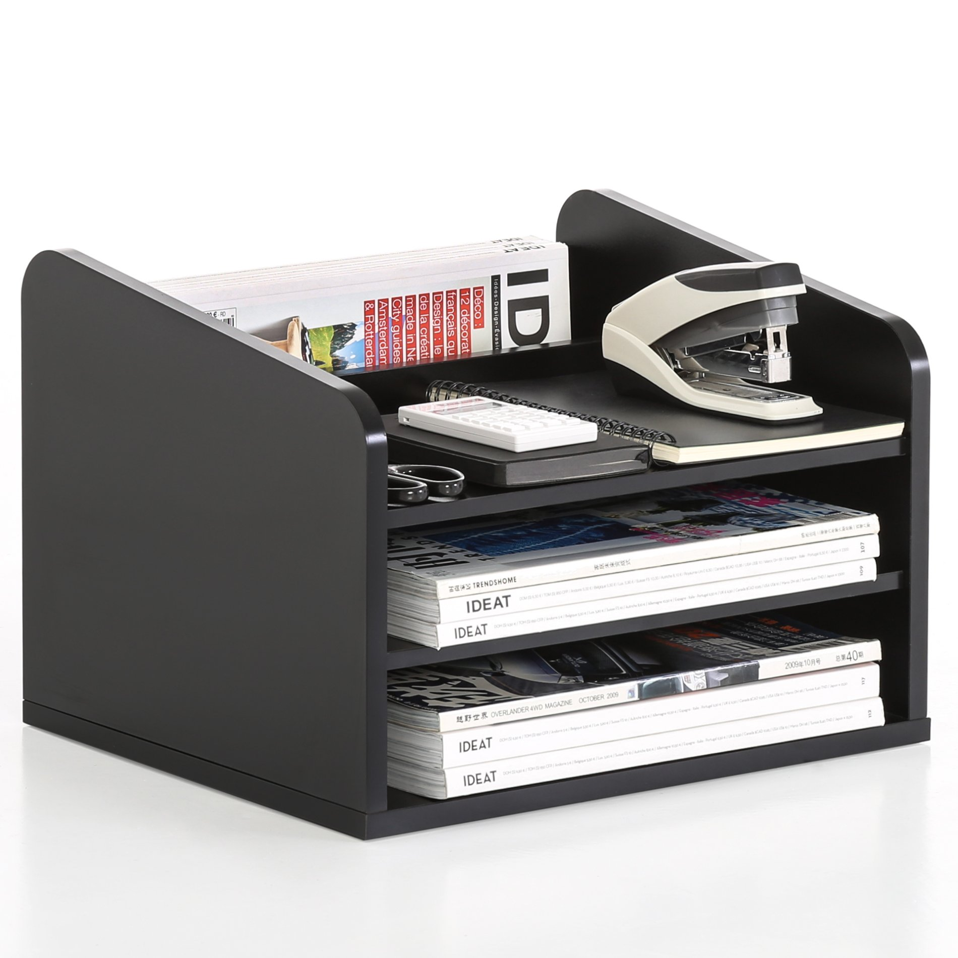 FITUEYES 3-Tier Wood Desk Organizer Workspace Organizers Black DO303501WB