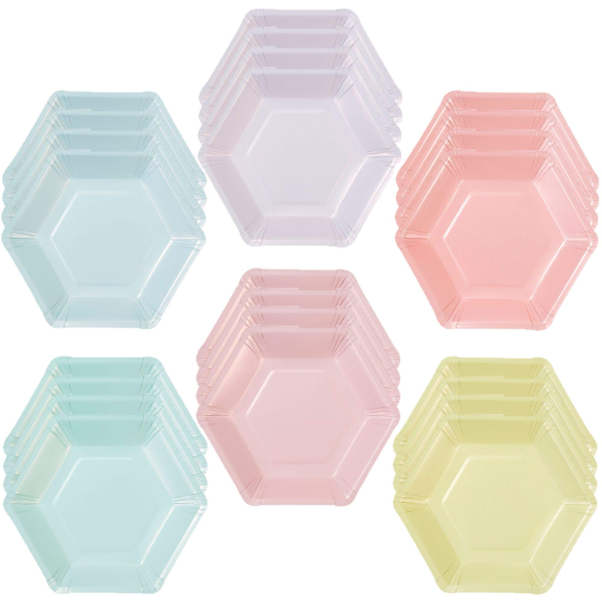 Talking Tables We Heart Pastel Small Multi Pastel Color Hexagonal Matte Paper Plates (6 Designs) for a Birthday Party or Celebration, Multicolor (24 Pack) by Talking Tables