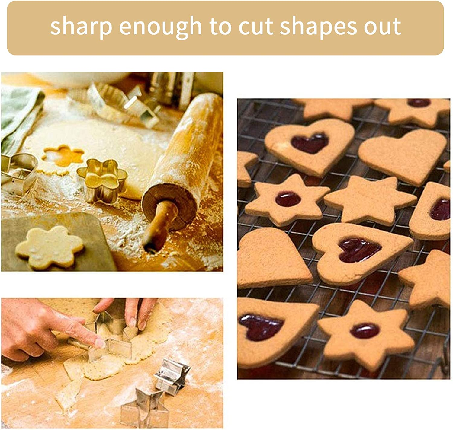 12 PCS Cookie Cutters,Stainless Steel Biscuit Cutters Set,Pastry Bakeware Decoration Heart Star Circle Flower Shaped Mould