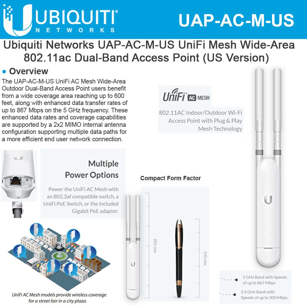 Ubiquiti Networks Unifi AC Mesh 1167Mbit/s Power over Ethernet (PoE) White by Ubiquiti Networks