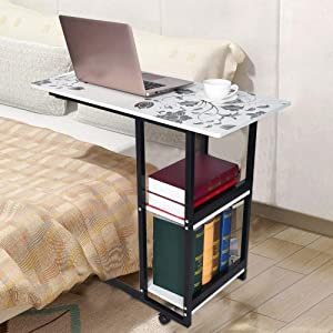 Inkach Laptop Table | Foldable Mobile Computer Desk with Wheels | Overbed Side Tables Desktop Notebook Holder Books Storage (White)