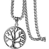368ee21a15aa Flongo Herren-Kette Männer Anhänger, Edelstahl Halskette Fotoanhänger Kette  Hohl Baum des Lebens Tree