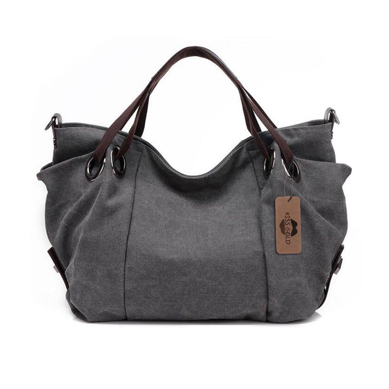 KISS GOLD(TM) Women's Canvas Hobo Top-handle Bag Crossbody Shoulder Bag, European Style, Large Size 16''X6.8''X12'', Grey