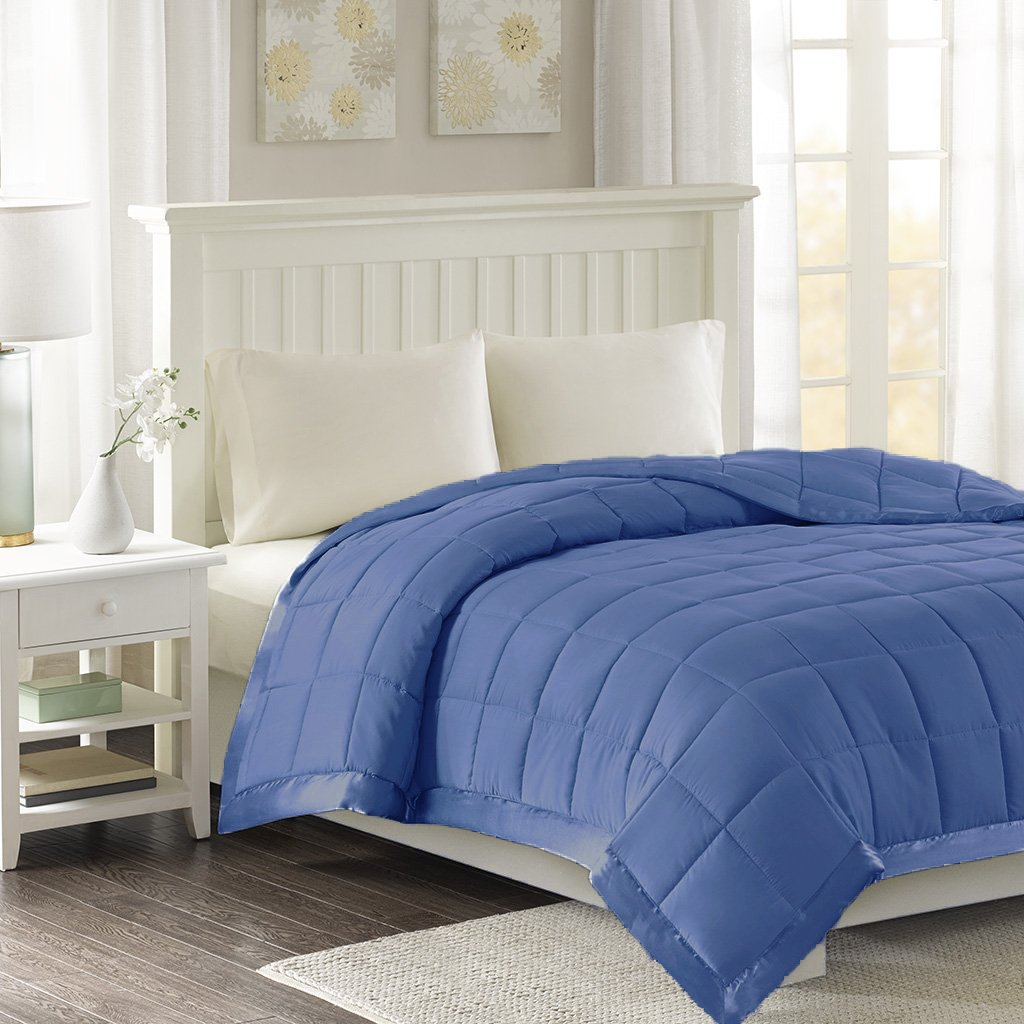 Luxlen Microfiber Blanket with Satin Edge - Down Alternative (Blue Jean, Twin)
