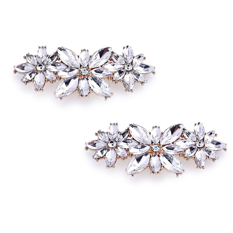 ElegantPark BL Fashion Flower Design Rhinestones Wedding Party Decoration Shoes Clips Gold 2 Pcs