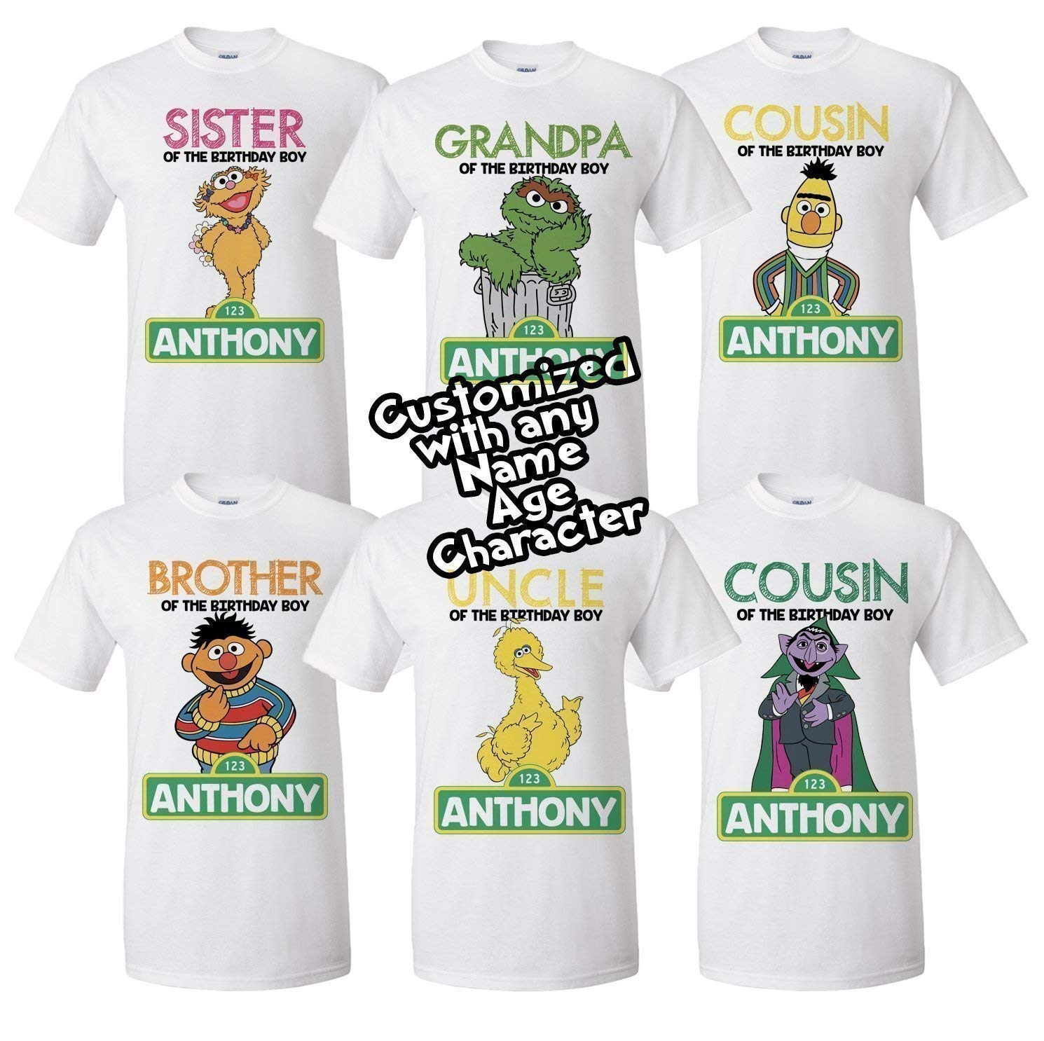 510a3348 Amazon.com: Sesame Street birthday shirt, Elmo Family Birthday Shirts  choose any character for each shirt: Handmade